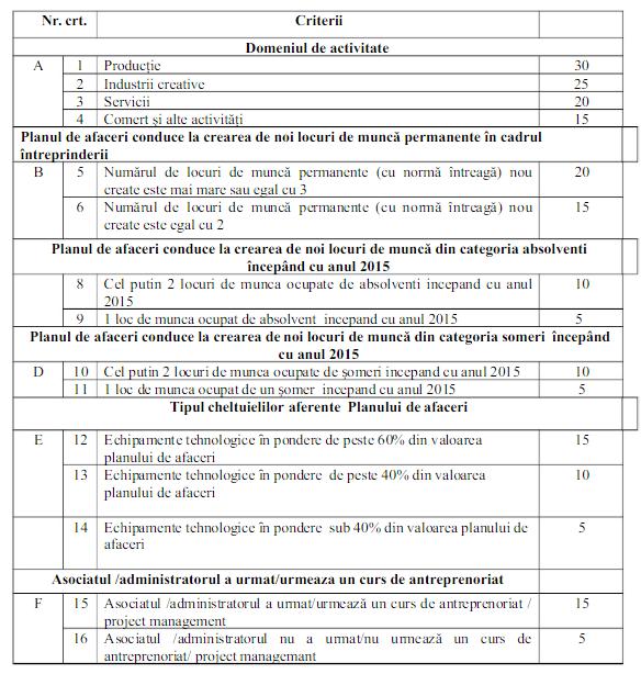 Startup Nation Romania criterii si punctaje