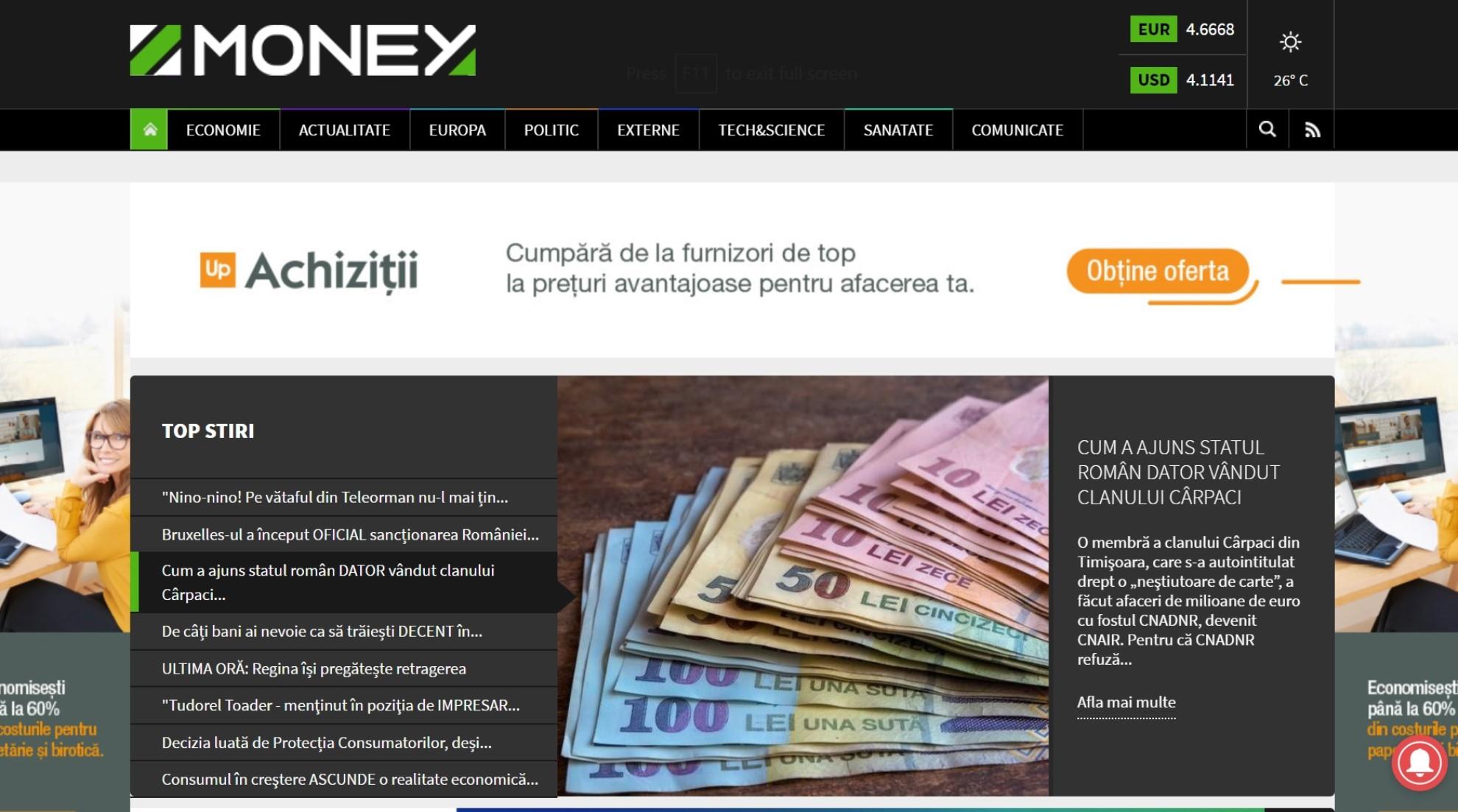 Portal de stiri de business, analize, comentarii, calculator credite, fonduri europene, burse, banci si companii. Sustinut editorial de Money Channel, Business