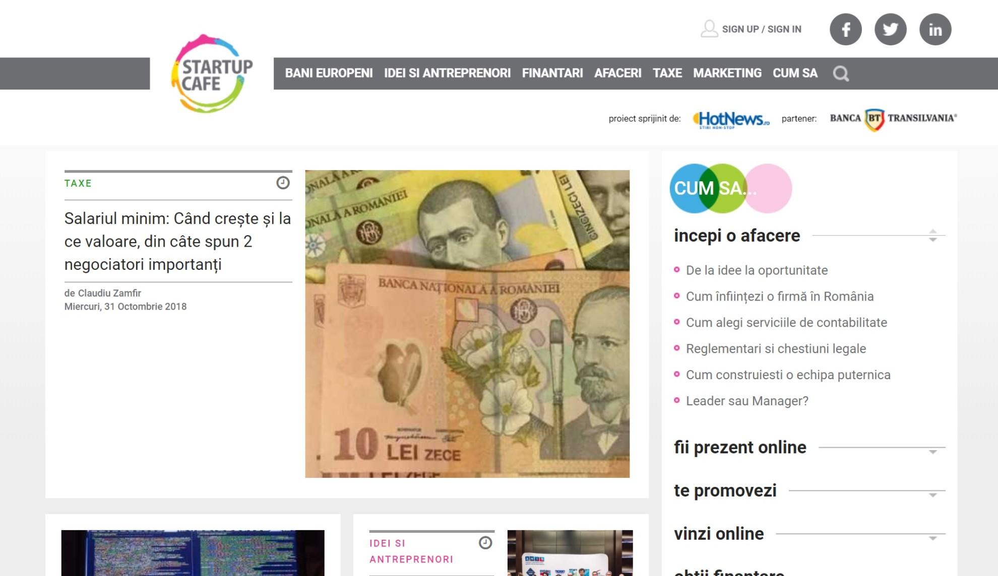 StartupCafe.ro - Stiri si Ghiduri - Antreprenori Idei Finantari Afaceri Taxe Marketing