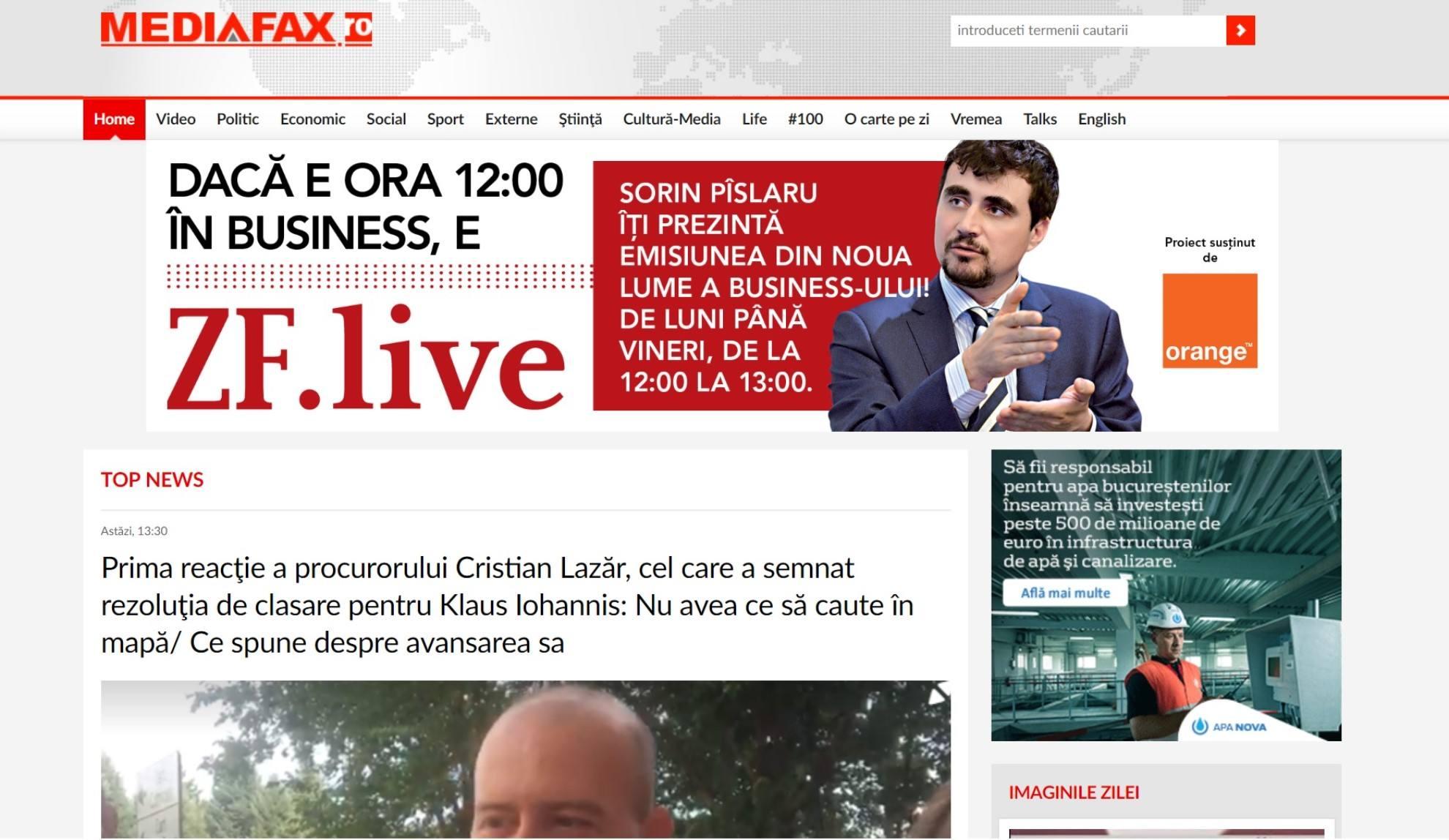 Ştiri de ultima ora si ultimele ştiri - ştiri online - Mediafax