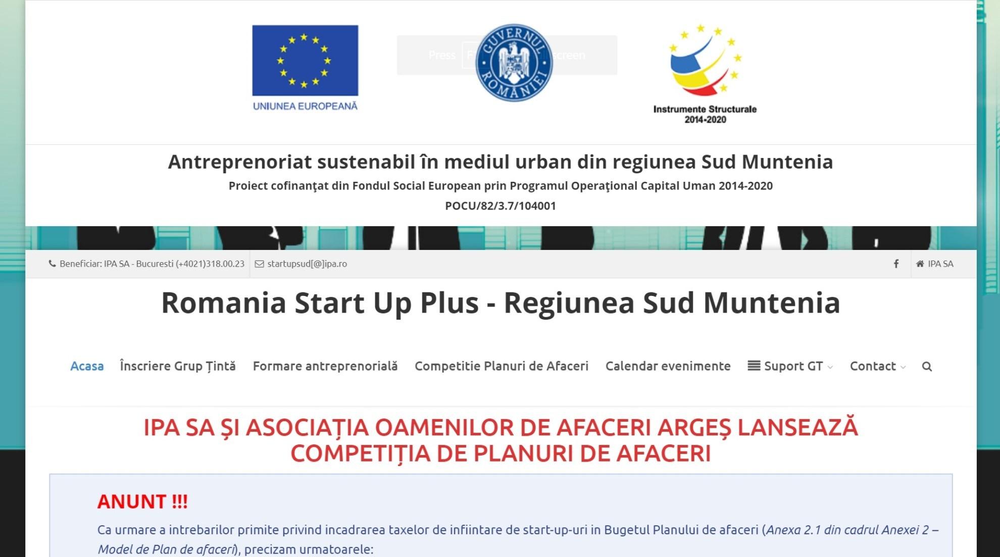 Romania Start Up Plus Regiunea Sud Muntenia; Antreprenoriat sustenabil in mediul urban din regiunea Sud Muntenia