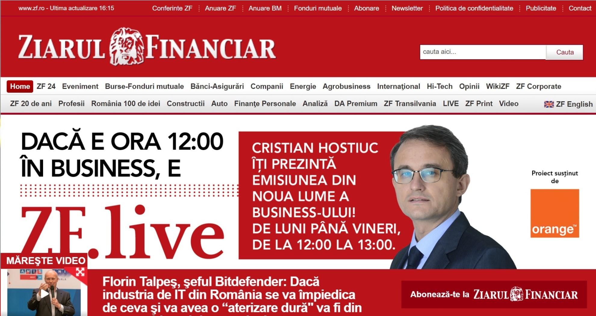 Ziarul Financiar - stiri economice de ultima ora, ultimele stiri