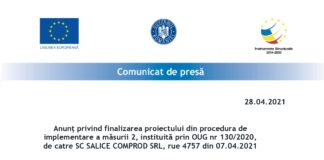 Anunt finalizare proiect SALICE COMPROD SRL